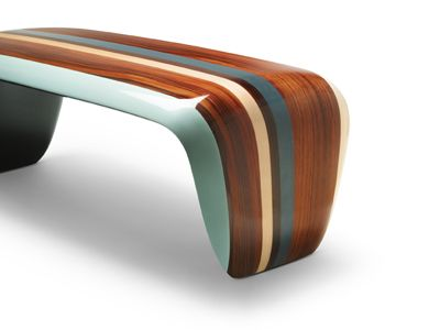 Bench in marquetery - designed by Jean-Marc Gady ( french Manufacturer : Craman Lagarde)