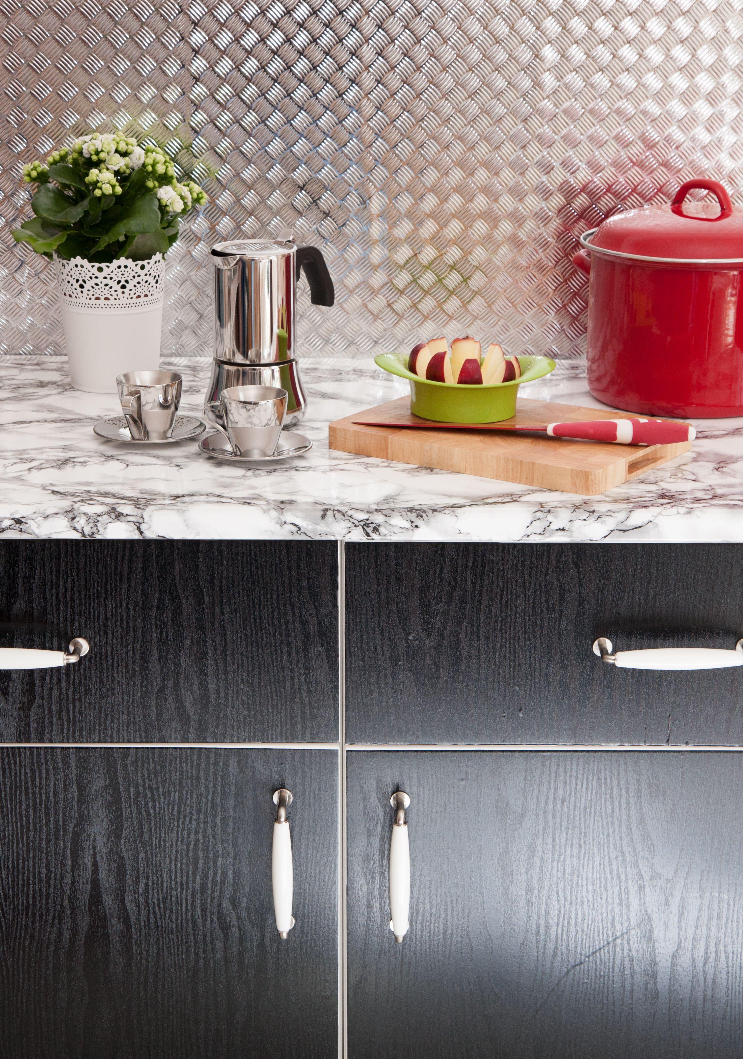 kitchen makeover using d c fix blackwood on cupboard. Black Bedroom Furniture Sets. Home Design Ideas