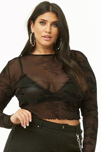 61e2141f Plus Size Sheer Camo Lettuce-Edge Top in 2019 | Products | Tops ...