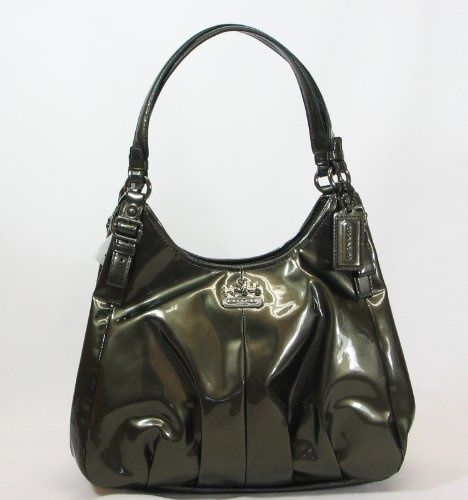 Coach Madison Patent Leather Handbag in Pewter - Consigned at Pemberley Designer Consignments in Monroe, CT