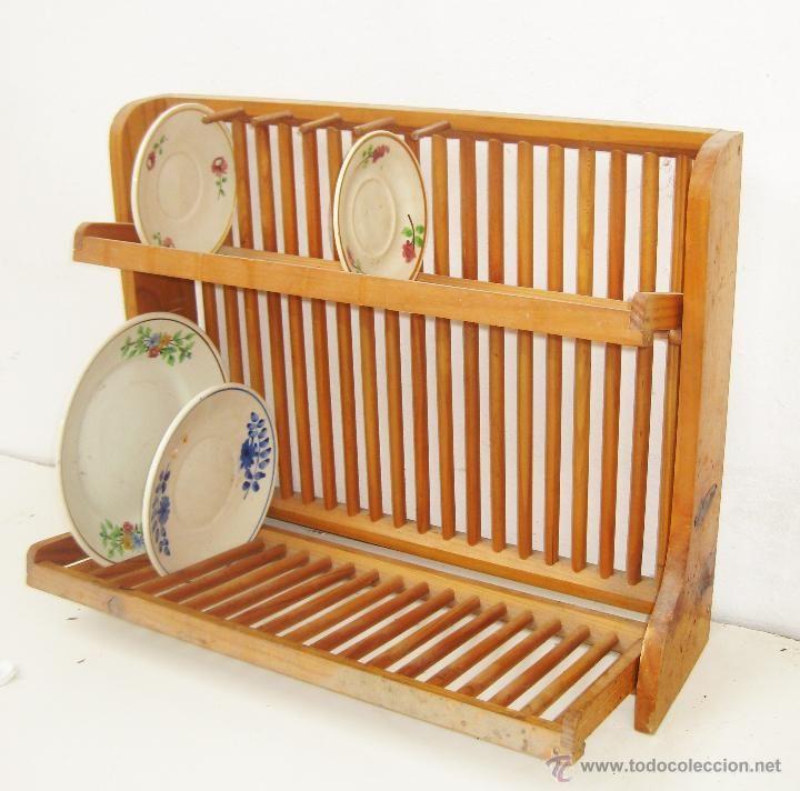 Mueble platero vintage pino tono miel ideal cocina vintage for Plateros para cocina