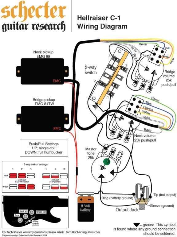 Schecter Les Paul Style Wiring Diagram from i.pinimg.com