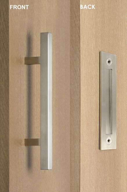 Barn Door Pull And Flush Square Ladder Door Handle Set Brushed Satin Stainless Steel Finish Door Handles Door Handle Sets Sliding Door Handles