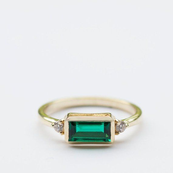 Baguette Emerald and Diamond ring, Baguette Emerald, round Diamonds. dainty ring, Green Gemstone.