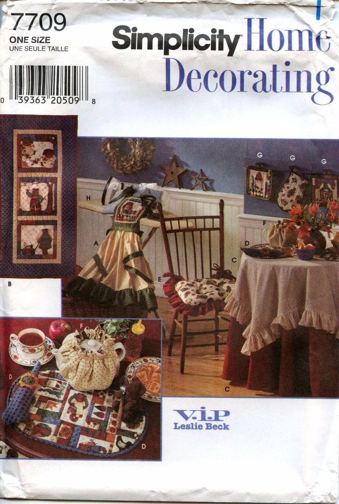Uncut Simplicity Sewing Pattern #7709 Home Decor Leslie Beck Kitchen  Accessories #Simplicity