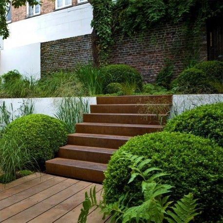 Escalier en acier Corten   Jardin   Jardins, Déco jardin et ...