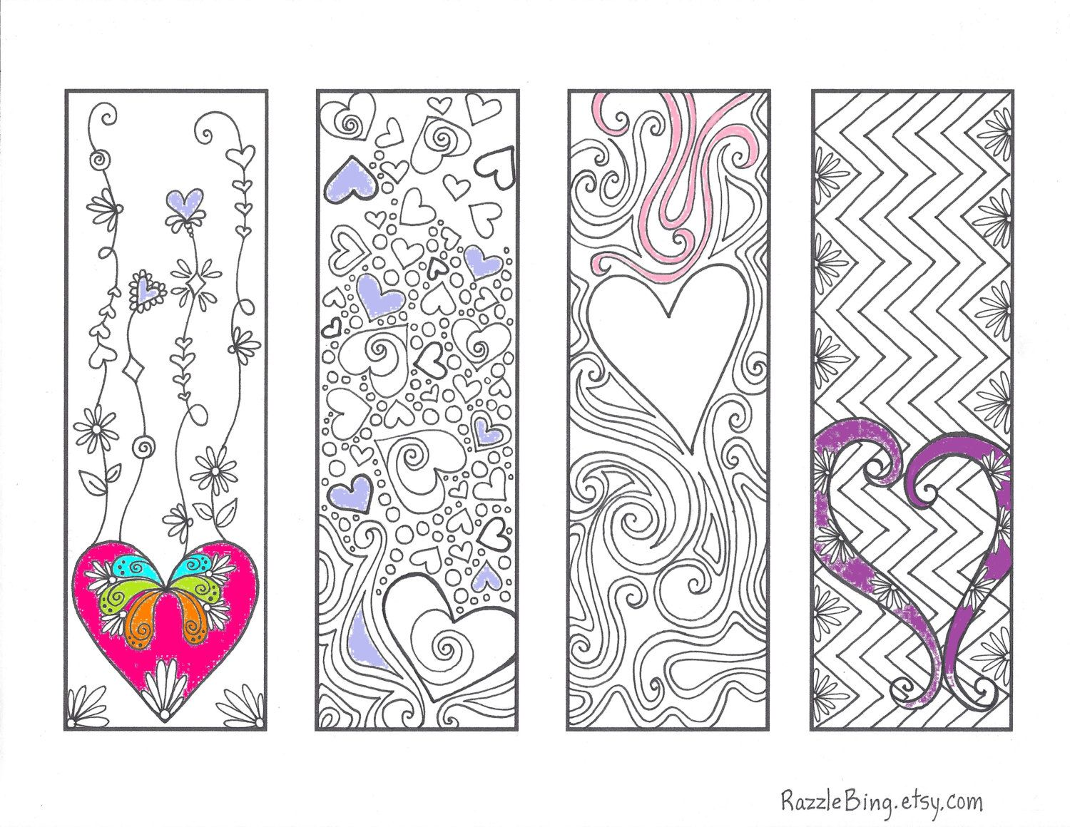 Valentine bookmark to color - Diy Bookmark Printable Coloring Page Zentangle Inspired Valentines Day Love Of Hearts Zendoodle Doodle Pdf Instant Download