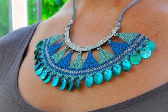 Crochet Necklace , Traditional Turkish Lace , Oya , Needle Lace Necklace