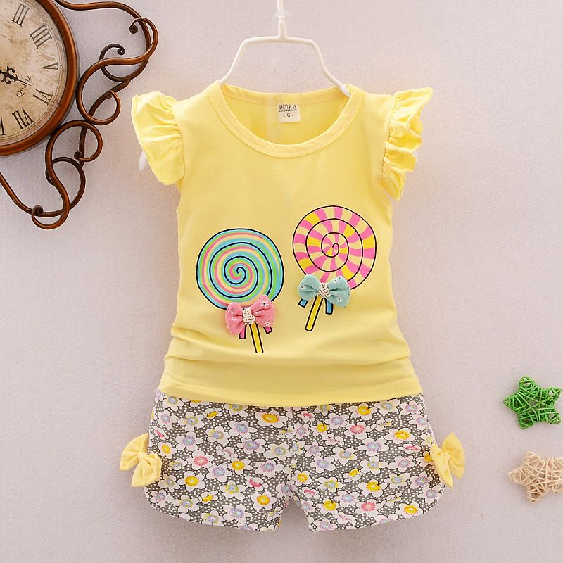 BibiCola muchachas del niño del bebé que arropan verano del caramelo patrón  niñas verano ropa set kids fashion sport suit set 6f24633c4710