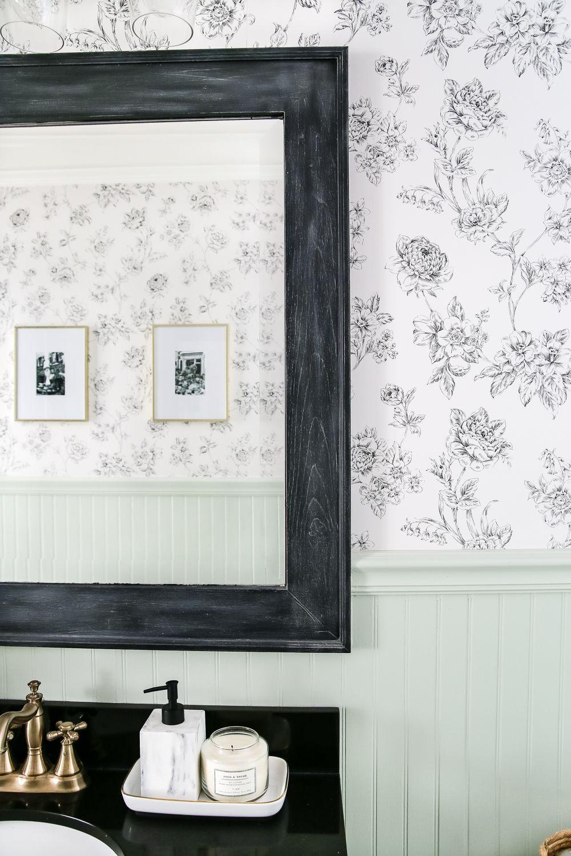Dry Brushed Black Mirror Makeover | Mirror makeover, Bathroom ...