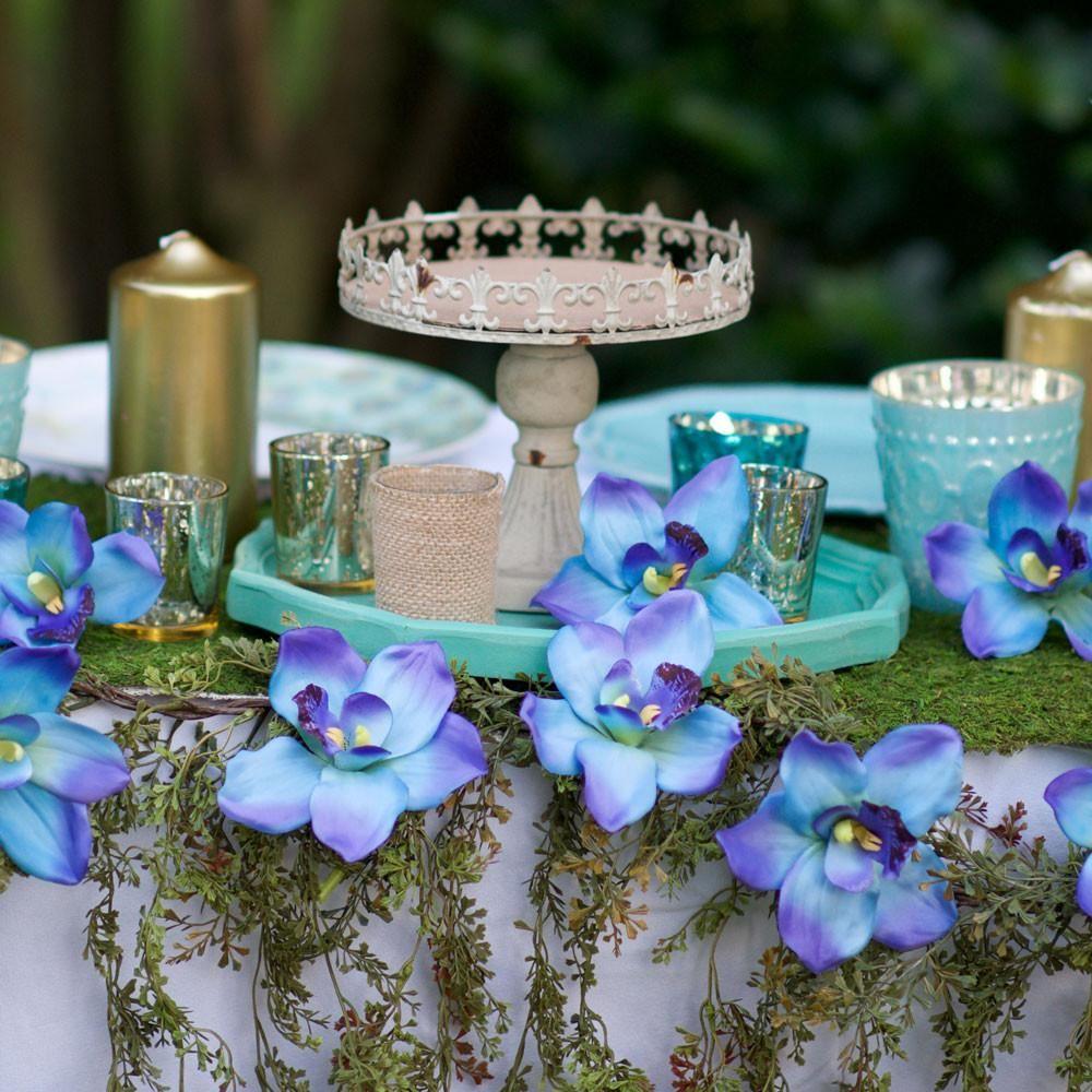 Cymbidium Orchid Silk Flower Spray In Blue 36 Cymbidium Orchids