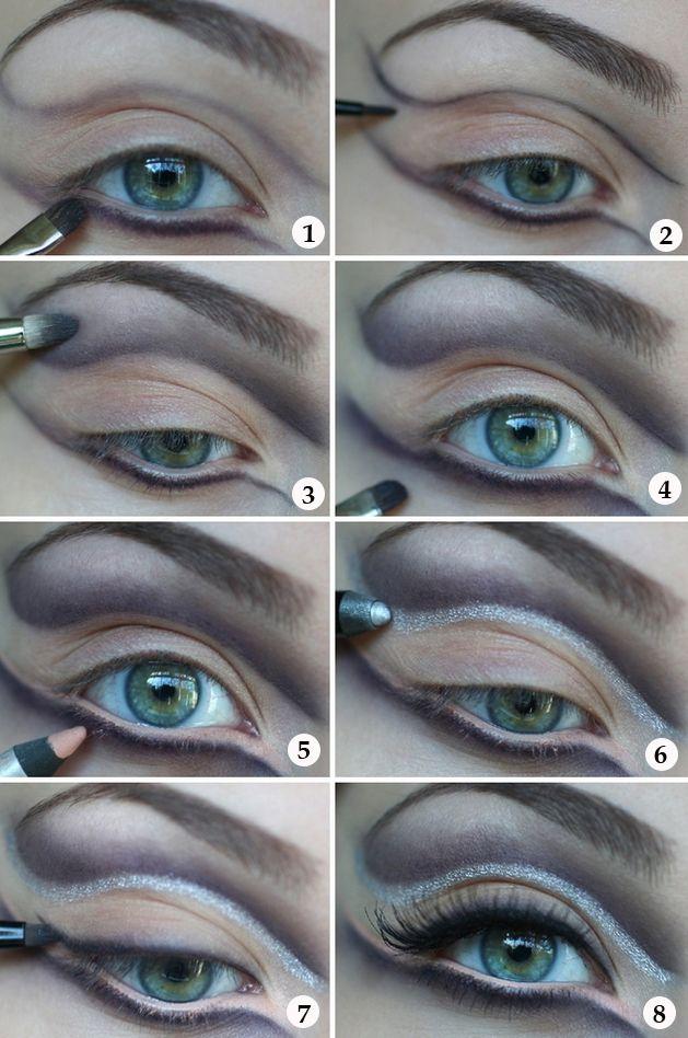 halloween eye makeup tutorial silver purple eyeliner | Fall ...