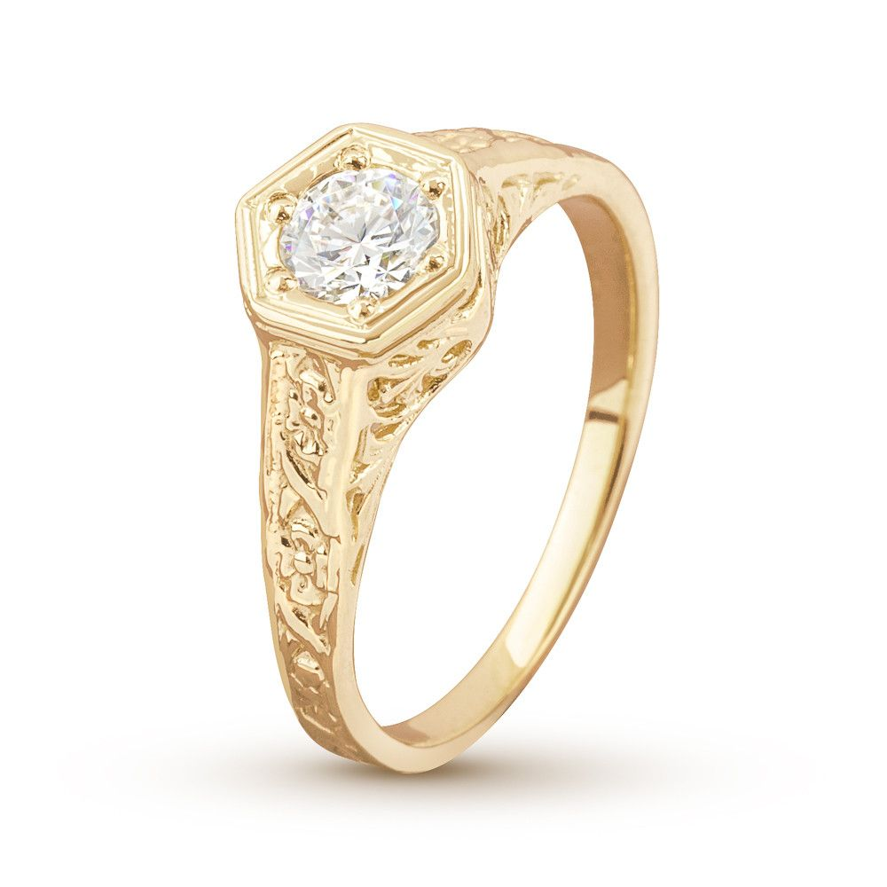 Antique Filigree 1/2 Carat Diamond Yellow Gold Engagement Ring