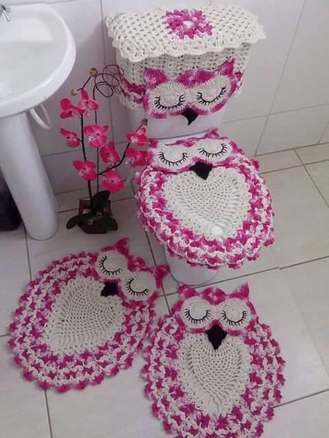 Crochet Owl Bathroom Set With Free Pattern Is So Beautiful. This Set  Contains 4 Crochet Pieces, Two Crochet Rugs To The Floor, And Two For The  Toilu2026