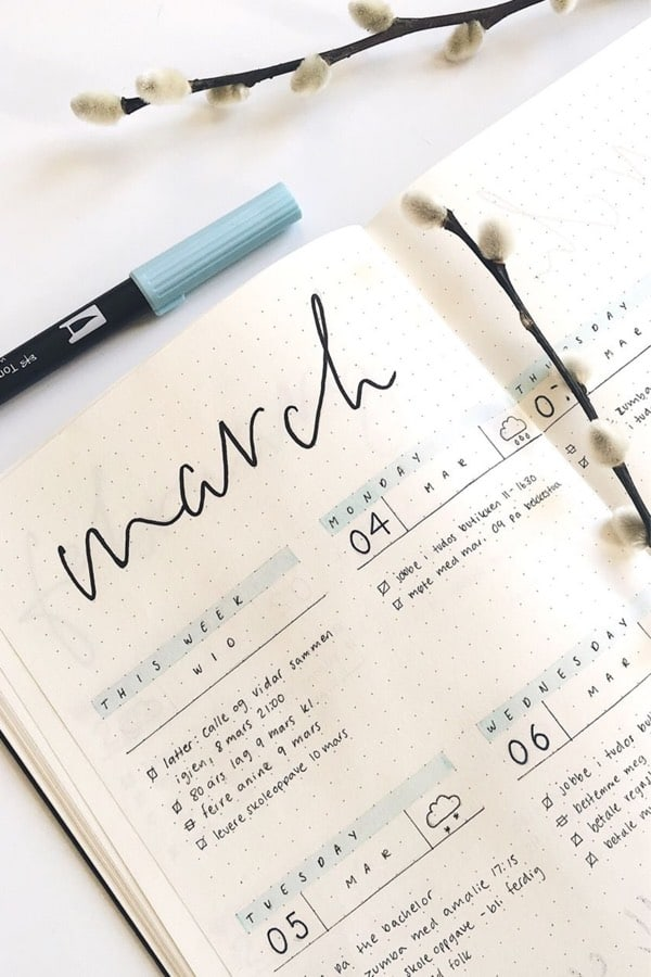 Bullet Journal Weekly Spread Ideas For March 2020