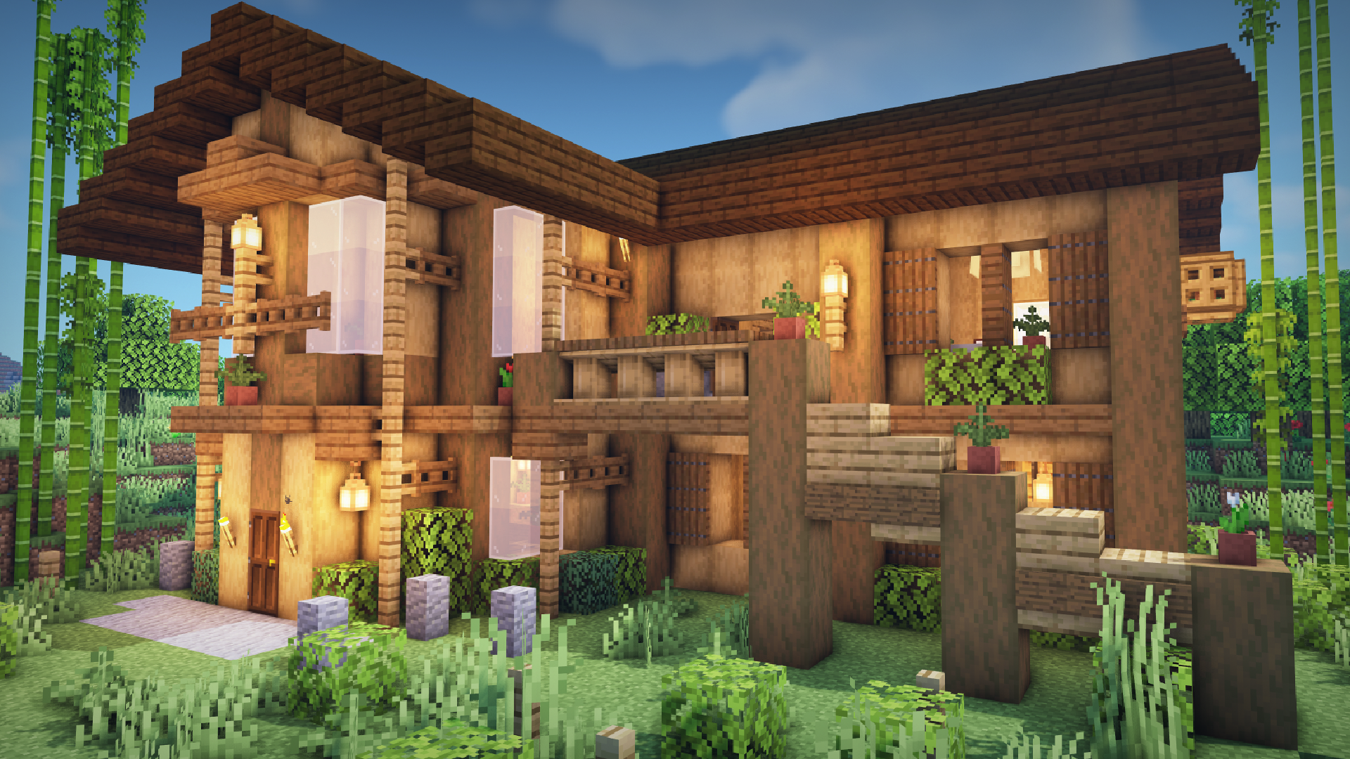 Minecraft: How To Build a Wooden Modern House - goukko.com