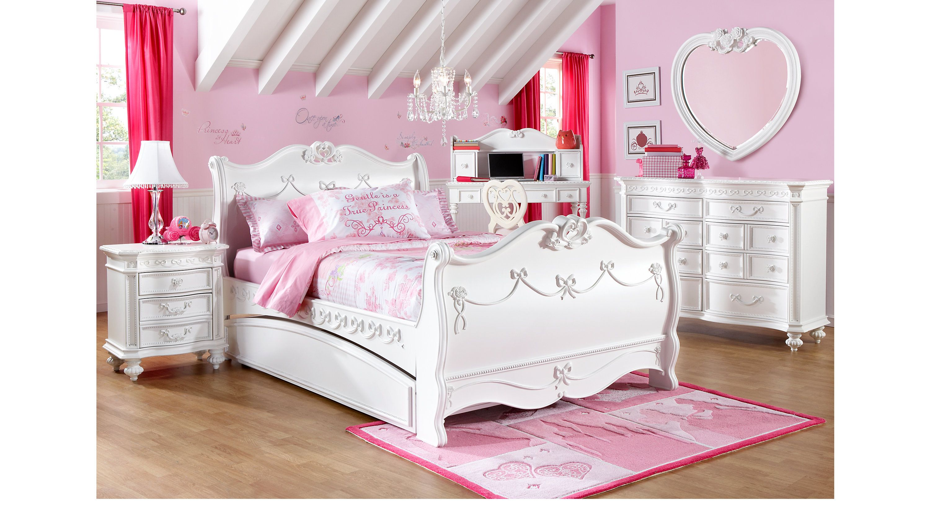 Disney Princess White 5 Pc Twin Sleigh Bedroom Look At The Dresser And Heart Shaped M Girls Bedroom Sets Girls Bedroom Furniture Sets Princess Bedroom Set