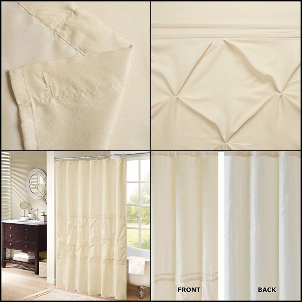 Shower Curtain Tufted Pattern Multicolor Microfiber For Bathroom