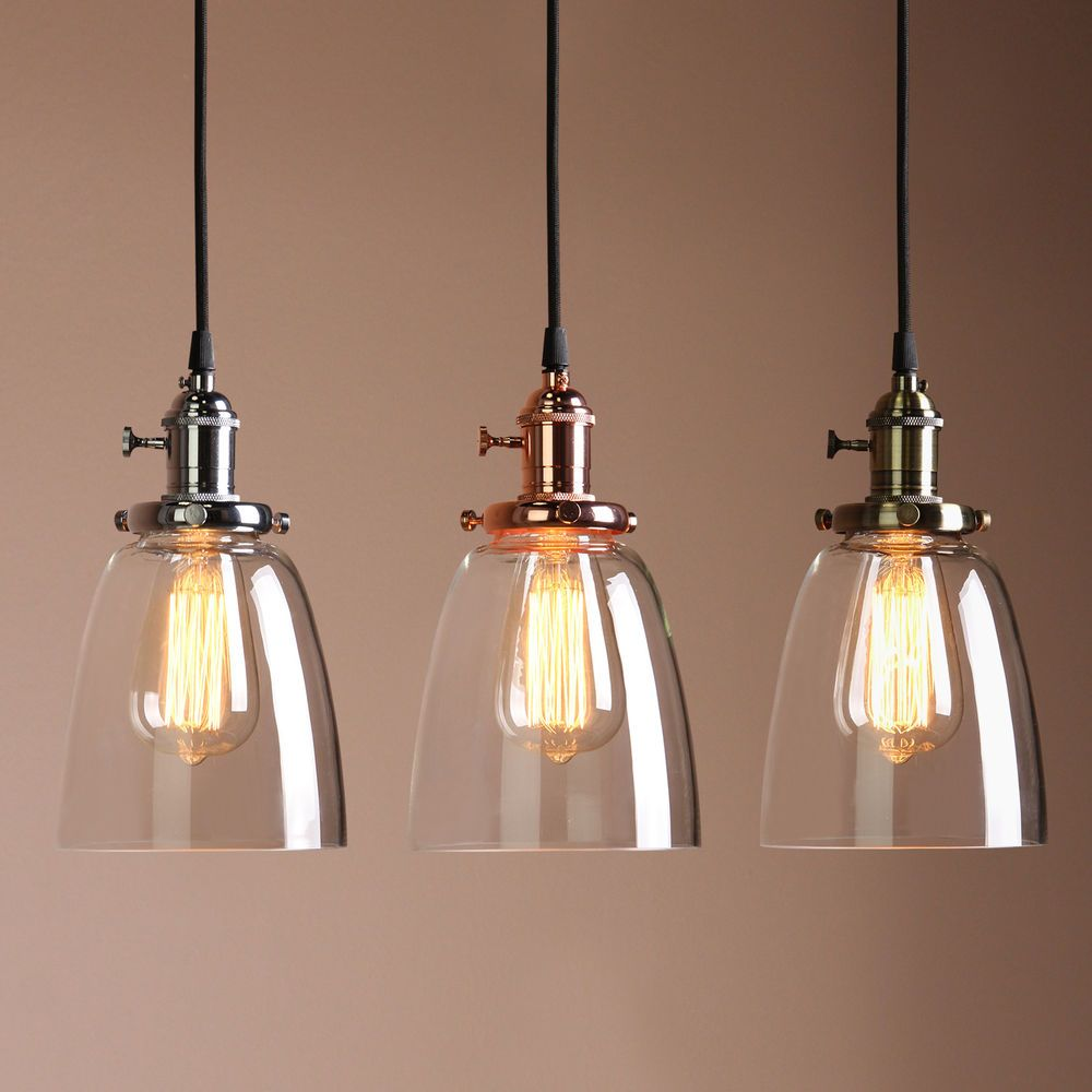 Retro Antique Copper Cafe Bar Metal Pendant Lamp Glass Cone Shade - Pendant loghts
