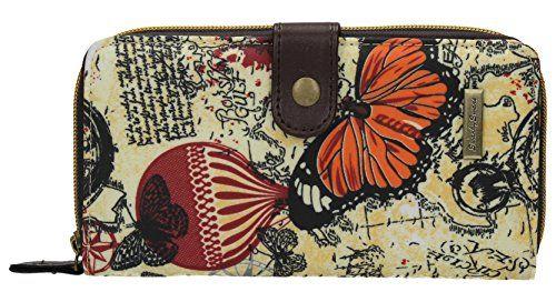 Swankyswans Damen Geldbörse Atlantis Design mit Vintage-Kartenmotiv und  Schmetterling groß bedruckt zum Aufklappen. b14e458494