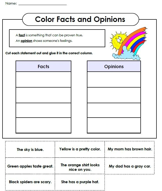 Check out this cut and glue fact and opinion worksheet! Visit ...