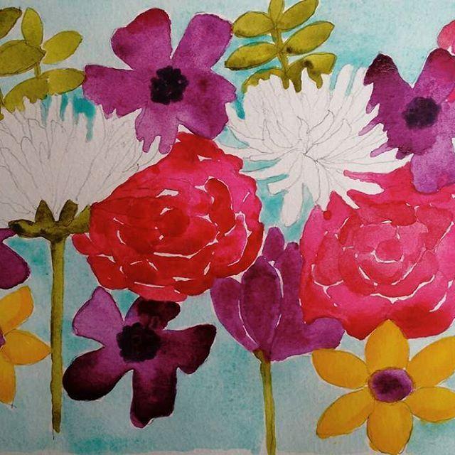 #watercolorpainting #watercolour #watercolourflowers