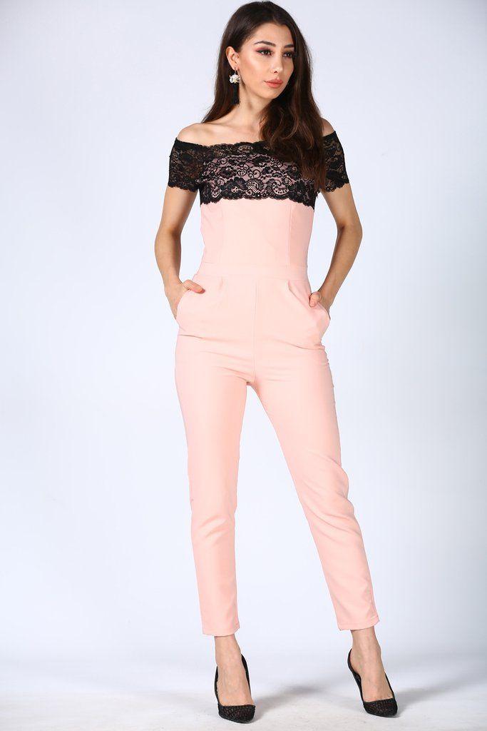 جمبسوت أوفرول وردي فاتح بجزء علوي مطرز بدانتيل Fashion Dresses Jumpsuit