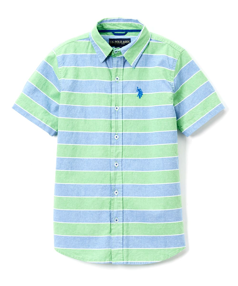 Classic Green Stripe Button-Up - Boys