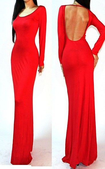 Images of Long Sleeve Red Maxi Dress - Reikian