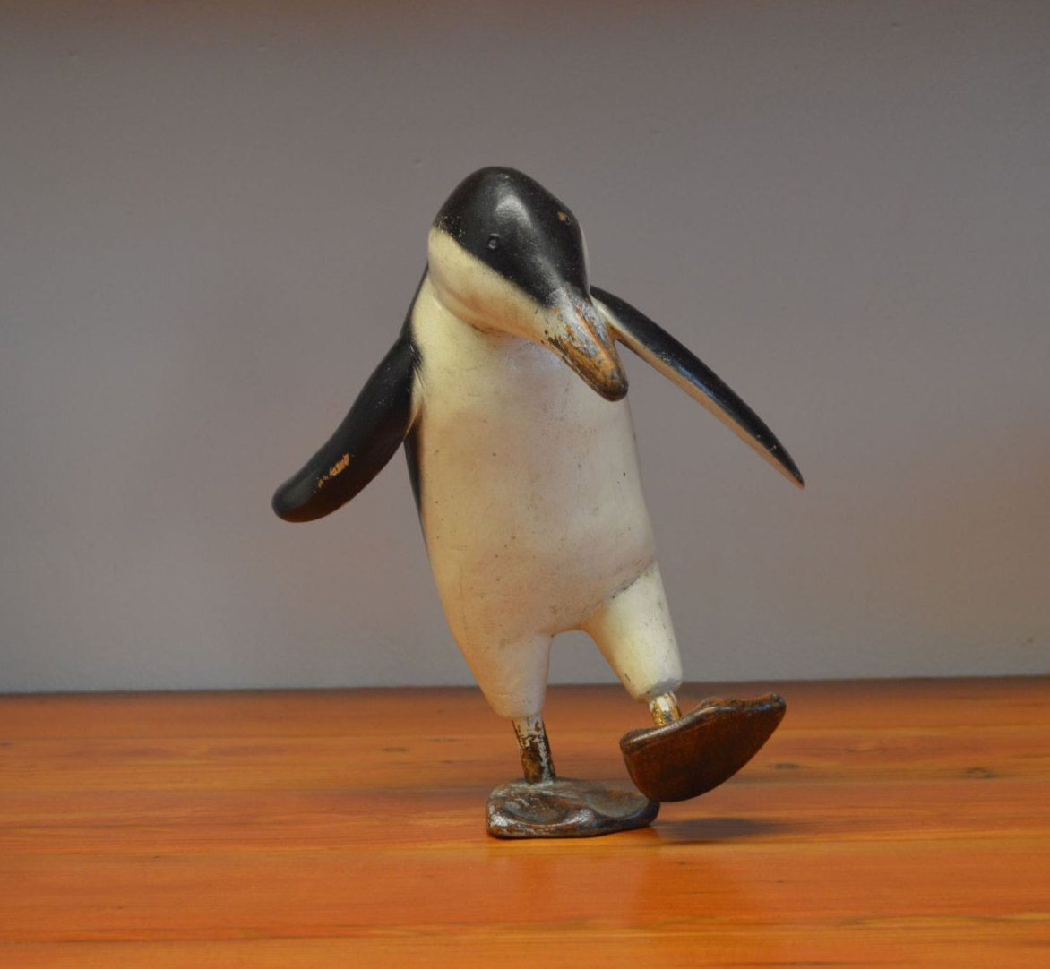 Fair Trade Hand Carved Made Wooden Wood Shabby Penguin Statue Sculpture Ornament