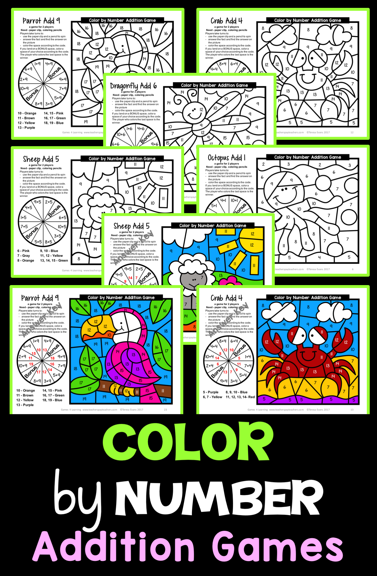 Addition Color by Number: Addition Games for Addition Fluency ...