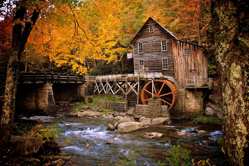 Glade Grist Mill - Beautiful! Reminds me of my grandpa's old mill in MI, the Elowsky Mill.