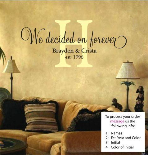 We Decided On Forever - Monogram - Personalized Vinyl Lettering Wall ...