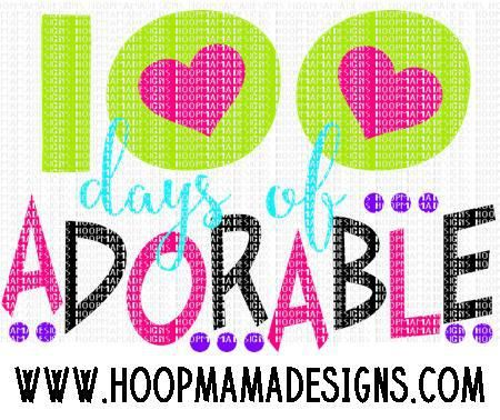 100 Days of Adorable SVG PNG DXF EPS - HoopMama Designs