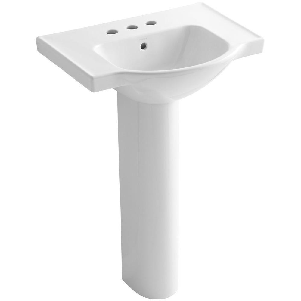 Kohler Veer 24 In Vitreous China Pedestal Combo Bathroom Sink In White With Overflow Drain K 5266 4 0 Bathroom Sink Pedestal Sink Sink