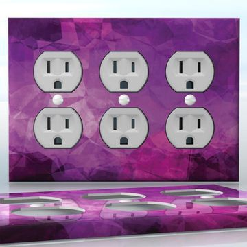 DIY Do It Yourself Home Decor - Easy to apply wall plate wraps | The Surface of Love  Purple glass image  wallplate skin sticker for 3 Gang Wall Socket Duplex Receptacle | On SALE now only $5.95
