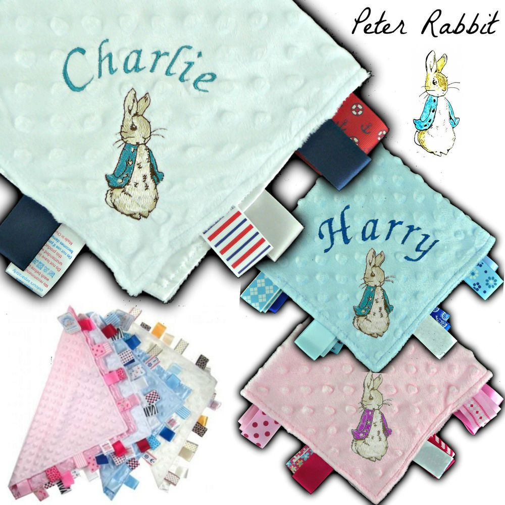 PETER RABBIT PERSONALISED BABY TAGGY TAGGIE BLANKET COMFORTER BOY GIRL GIFT TAG