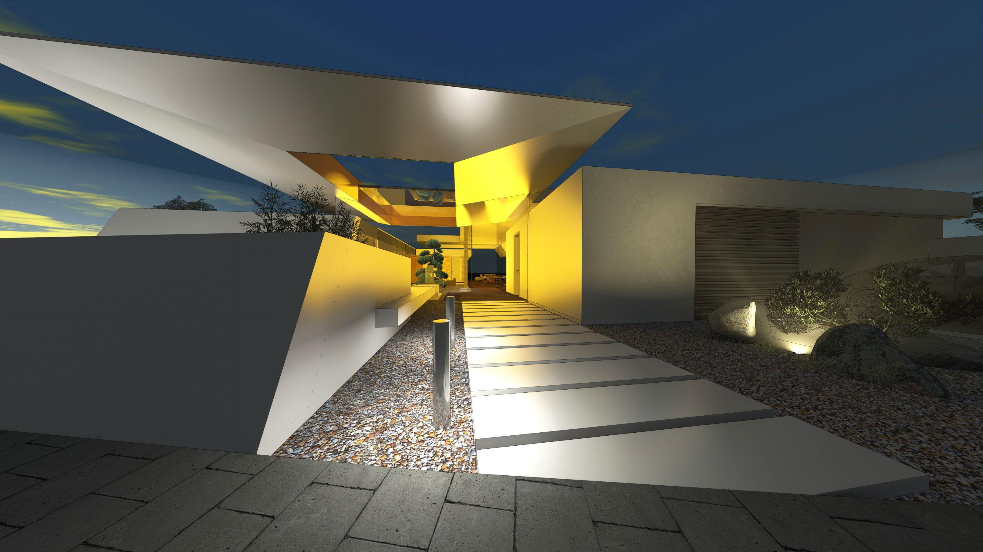 Avantgarde architektenhaus mit expressiver eingangs berdachung dynamische formensprache mit - Dynamische architektur ...