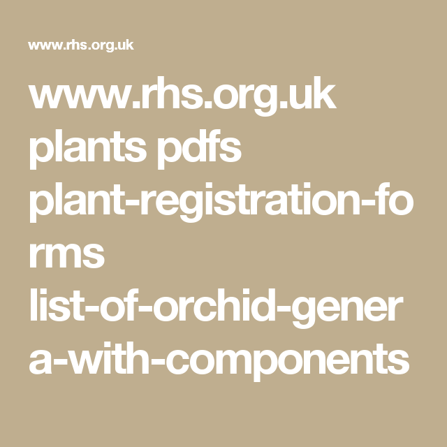 WwwRhsOrgUk Plants Pdfs PlantRegistrationForms ListOfOrchid