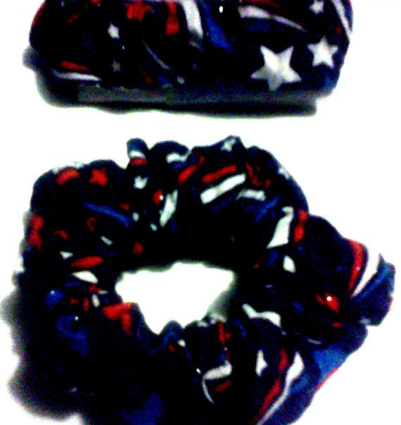 Hand-Made  Red White And Blue Starbursts Scrunchie