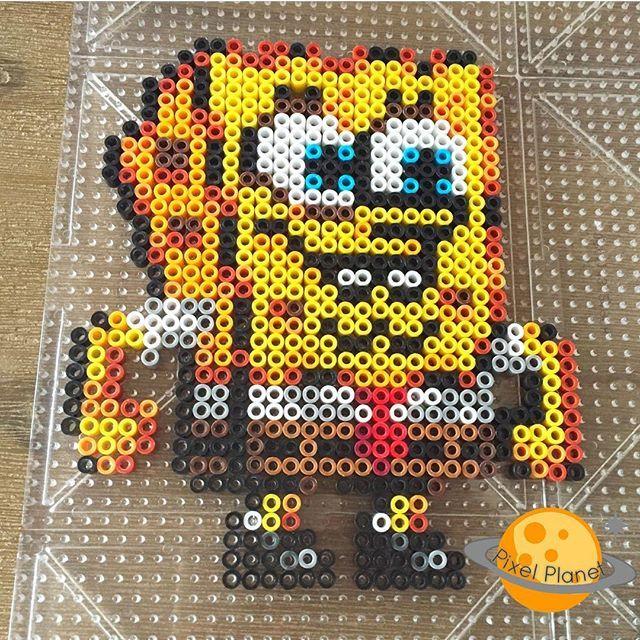 SponeBob perler beads by pixel_planet_
