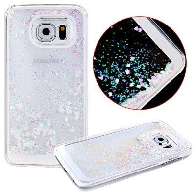buy online 29523 686c8 S6 Edge Case,S6 Edge Liquid Case,UZZO 3D Hard Shell Liquid Glitter ...