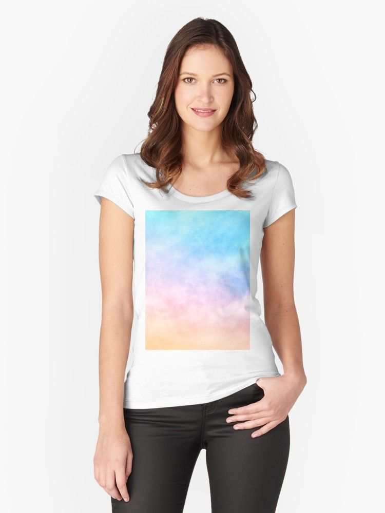 Pastel Rainbow Watercolor Clouds Artwork Fitted Scoop T Shirt By