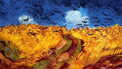 "Wheatfield with Crows, c.1890 by Vincent van Gogh. It is a common misconception that ""Wheatfield with Crows"" was Van Gogh's final work - his letters suggest it was completed around July 10, 1890, and he painted several other works after that date. Nonetheless, the ominous subject, and the proximity of its completion and his death, give the work a macabre tone. Art print from Art.com."