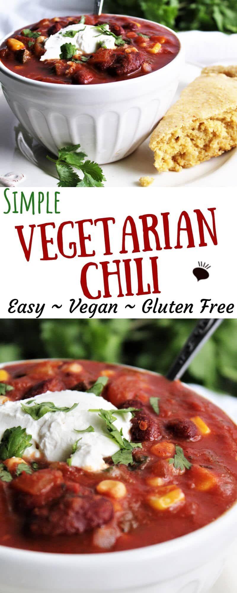 Easy Vegan Chili #veggiechilirecipe