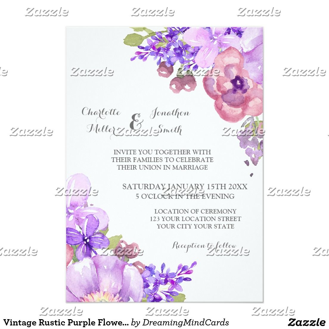 Vintage Rustic Purple Flowers Wedding Invitations | Country wedding ...