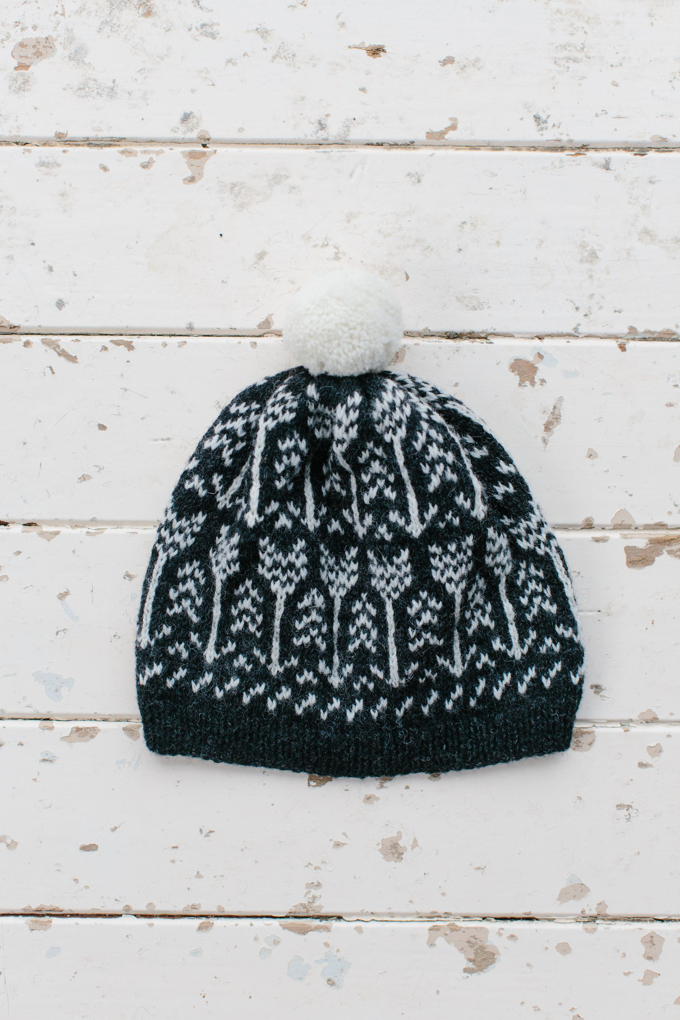 Arrow Pom Hat from Knitting from the North. Knitted with Jamiesons of  Shetland Spindrift in