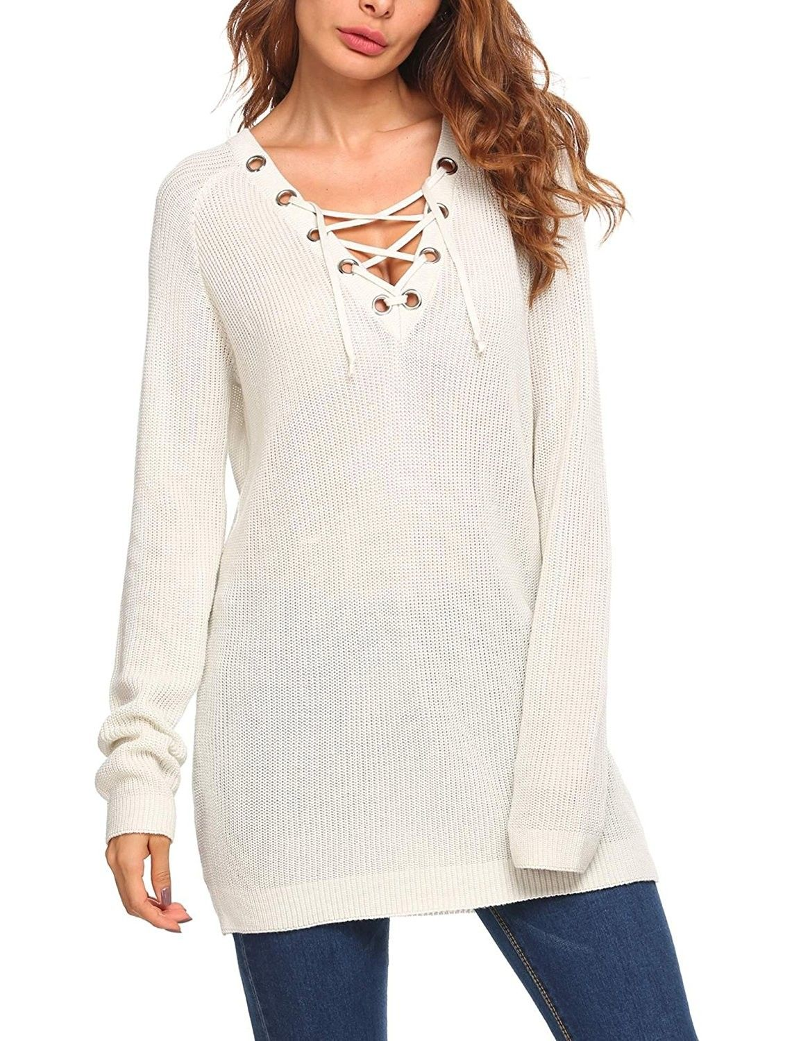 Women s Loose Fit Lace Up V Neck Long Sleeve Knit Sweater Tops ... 3bb8f7a48