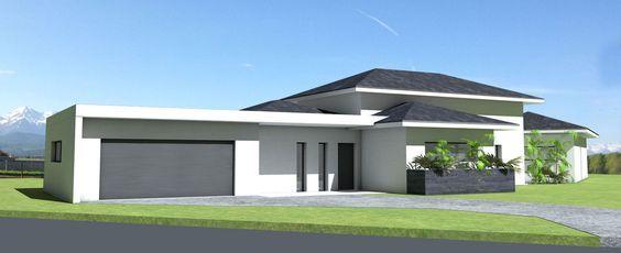 Maison contemporaine à toit ardoises et grande terrasse couverte