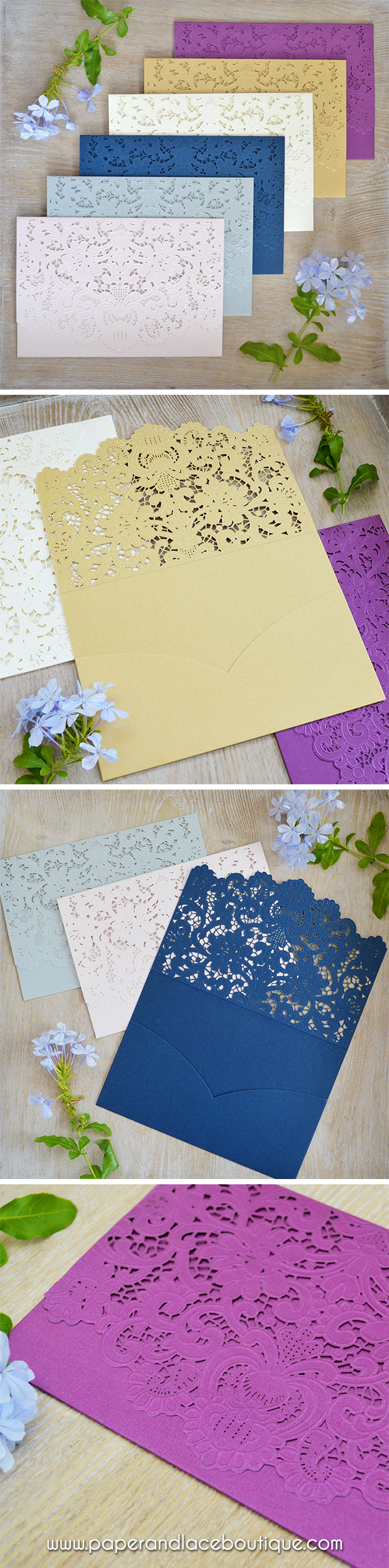 Diy laser cut pocket invitations more colors available laser cu
